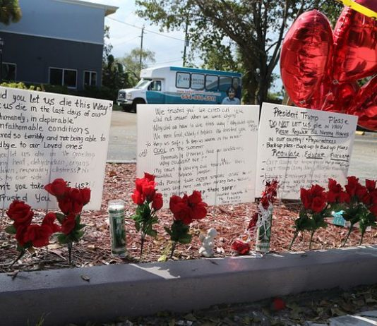 Messages left on the sidewalk of the Rehabilitation Center of Hollywood Hills in Florida following a series of deaths, which